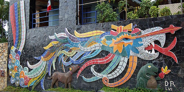 Diego rivera s mosaic mural in acapulco tour by van for Mural quetzalcoatl