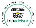 TripAdvisor Excellence since 2011